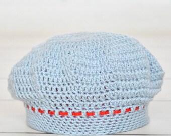 Crochet hat; baby girl hat; baby beret; red baby hat; 0-3 baby beret; newborn baby hat; baby shower gift; newborn beret; crochet newborn;
