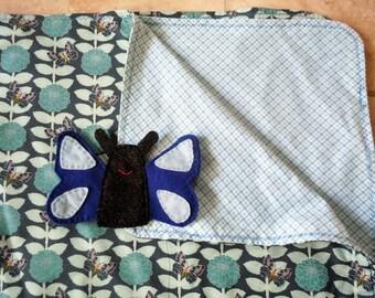 Flannel/Fabric Baby Blanket Butterfly Finger Blanket Set