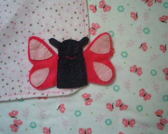 Flannel Baby Blanket and Butterfly Finger Puppet Set