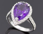 Ring - White Gold 18k/750 - Purple pear amethyst of 4.62 ct. - Diamonds 0.57 ct. - Size: 17.3 mm.