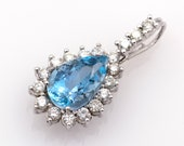 Pendant made of 18k/750 white gold with blue aquamarine of 7 ct. and 1.44 ct. of diamonds, chain of 50 cm. Jewelry certificate.