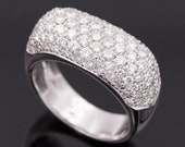 Ring -  White gold 18k/750 - Diamonds pave setting - Brilliant diamonds of 2.20 ct. - Size 15 (ES)