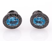 Earrings - Black gold 18k/750 -Topaz of 3.20 ct. - Black diamonds of 0.40 ct.