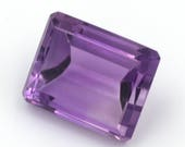Emerald-cut natural amethyst, weight: 9.55 ct.