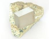 Pyrite crystal cube on matrix of 90 grams from Navajun, Spain.