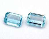 Pair of natural aquamarines, rectangular emerald cut and light blue to blue color,  weights: 10.01 ct. and 9.16 ct. Origin Brazil.