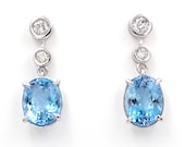 Earrings made of 18K/750 white gold with 5.9 ct. aquamarines and 0.56 ct. diamonds.
