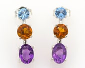 925 silver earrings  - Natural amethysts of 1.42 ct., natural citrines of 0.83 ct. and natural topazes of 0.47 ct.