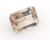 Natural rutile quartz, rectangular emerald cut , weight: 14.95 ct.