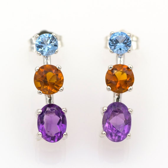 Gorgeous 100/% Natural Amethyst Marquise Shape Ethnic Style Handmade Jewelry 925 Sterling Silver Dangle Earrings 5.7 gms 12X5 mm 1.5 BL-173