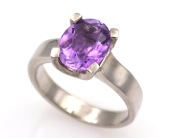 925 silver ring - Natural purple amethyst of 2.40 ct. - Size 16.8 mm.