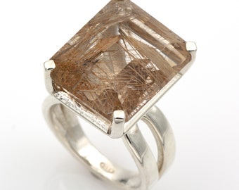 925 silver ring - Natural rutilated quartz of 20.30 ct. - Size 7 1/4 (US).