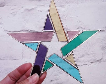 Rainbow Stained Glass Star Suncatcher - Window Hanging Decoration - Birthday Present - Wedding Gift - Home Decoration - MADE TO ORDER