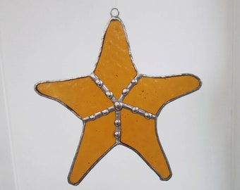 Starfish Stained Glass Suncatcher - Window or Wall Decoration - Beach Life - Gift for Her or Him - Nautical Gift