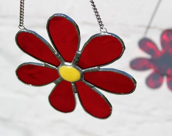 Daisy Flower Stained Glass Suncatcher - Window or Wall Hanging Ornament - Flower Suncatcher - Gift for Her - Mother's Day - Birthday Gift