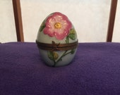 Limoges Hand Painted Teal and Pink Floral Egg Trinket Box. Perfect Condition. Delightful Detail includes Snap Clasp