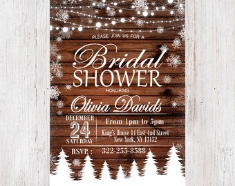 rustic bridal shower invitation winter bridal shower invitationbridal showerbridal shower invitation country bridal shower 08
