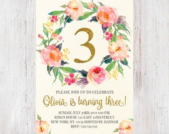 Third Birthday Invites 3rd Invitation Girls Three Year Old Flowers Floral Pink Gold Invite 206