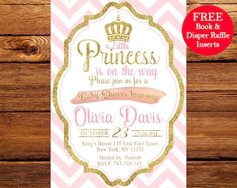 Baby Shower Invitation Girl Pink And Gold Etsy