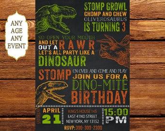 Dinosaur Invitation Birthday T Rex Invitations Party Printables Personalized 191