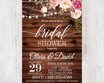 1164cae4131 Rustic bridal shower invitation