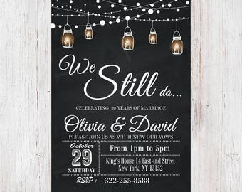 We still do vow renewal invitation vow renewal wedding etsy we still do invitevow renewal invitation wedding anniversary invitations chalkboard string lightsblack white mason jar invitation 20 stopboris