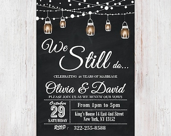 We still do vow renewal invitation vow renewal wedding etsy we still do invitevow renewal invitation wedding anniversary invitations chalkboard string lightsblack white mason jar invitation 20 stopboris Images