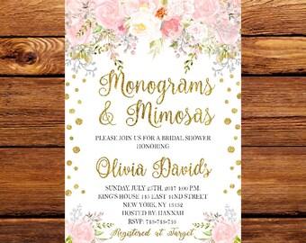 monogram invitation etsy