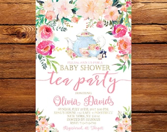 Tea party baby shower invitation etsy tea party baby shower invitation tea party floral baby shower inviteflower baby shower invite high tea garden party 227 filmwisefo