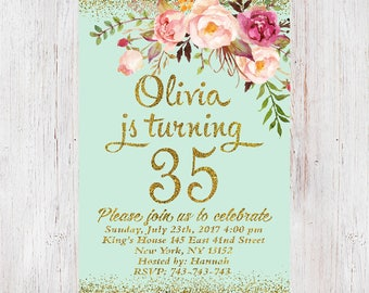 35th Birthday Invitation Women Floral Mint InvitationFloral Any Age 046