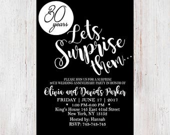 surprise anniversary invitations etsy