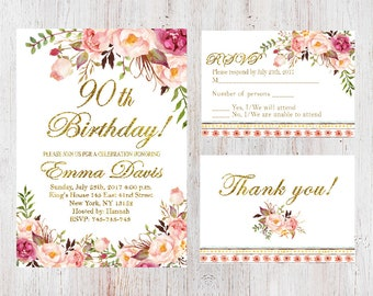 90th Birthday InvitationWomen InvitationFloral White Women InviteFREE RSVP Card And FREE Thank You CardAny Age 137
