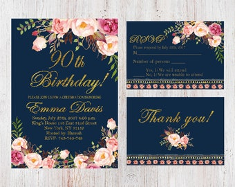 90th Birthday InvitationWomen InvitationFloral Navy Women InviteFREE RSVP Card And FREE Thank You CardAny Age 138