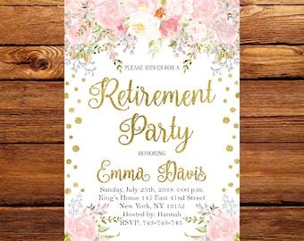 floral retirement invitation printableretirement party etsy