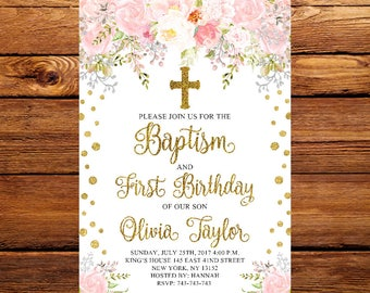 Floral First Birthday Baptism Invitation Pink And Gold Christening Party InviteBaptism InvitationBaptism Invite 04
