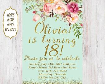 18th Birthday Invitation Women Floral Mint 14th15th16th17th18th19thAny Age 12
