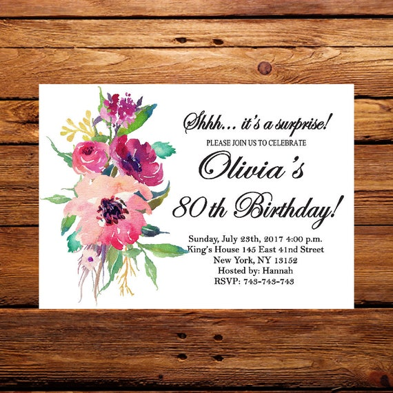 Floral InviteSurprise 80th Birthday InvitationWomen