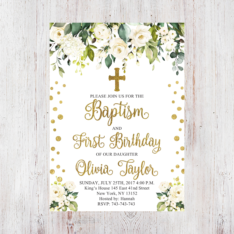 Baptism And First Birthday InvitationFloral InvitationWhite Gold Christening Party InviteBaptism Invite 23