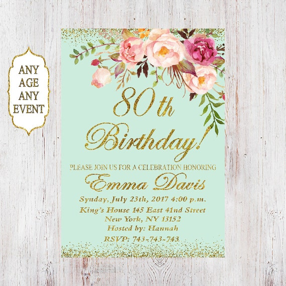 80th Birthday Invitation Women Floral
