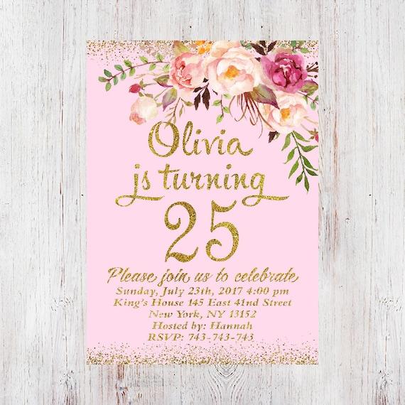 25th Birthday Invitation Any Age Women