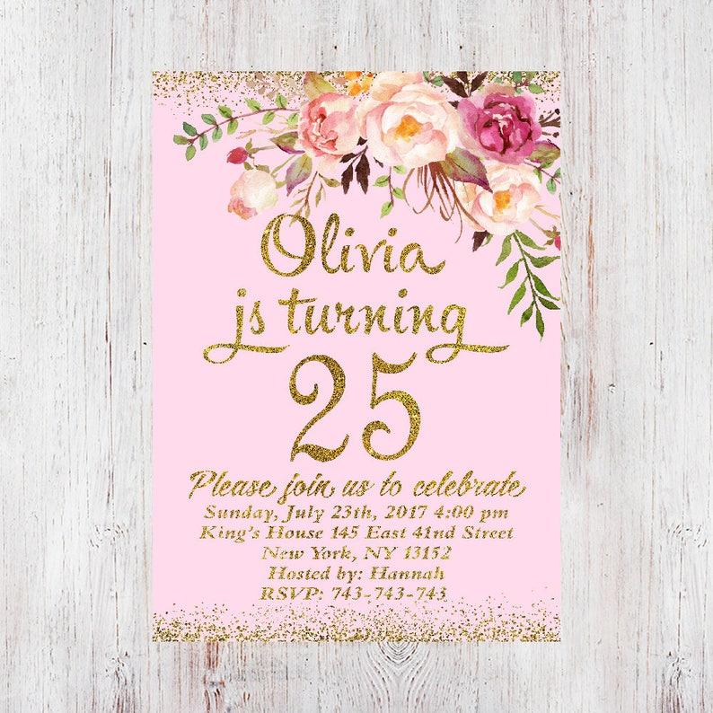 25th Birthday Invitation Any Age Women Birthday Invitation Etsy