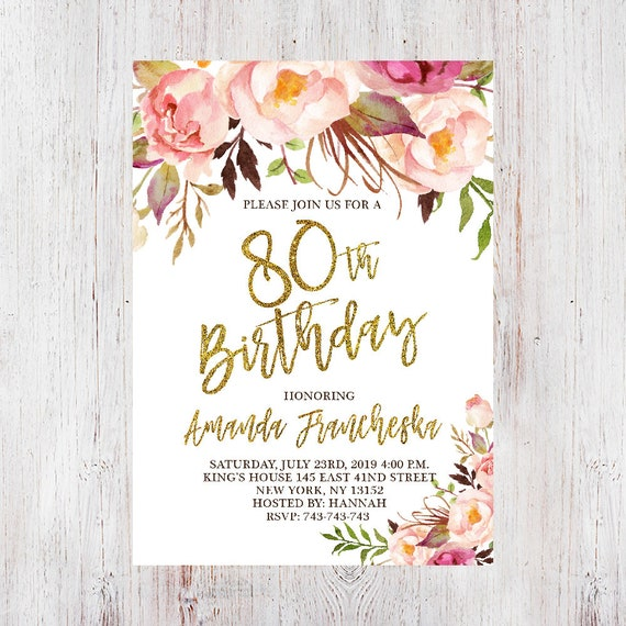 80th Birthday Invitation Women Any Age