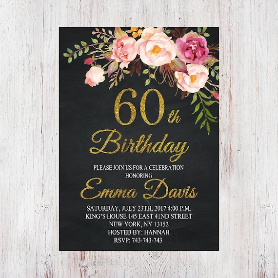 60th Birthday InvitationChalkboard Invite Elegant
