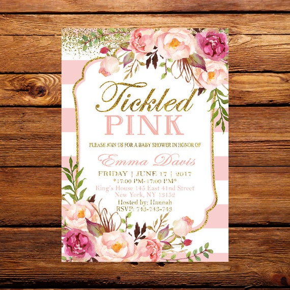 Floral Baby Shower Tickled Pink Baby Shower Invitation Etsy