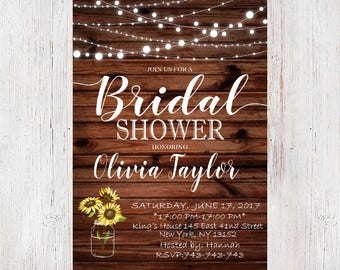 Rustic Bridal Shower Invitation, Country Bridal Shower Invite, Printable Invitation, Rustic wedding shower invite 037