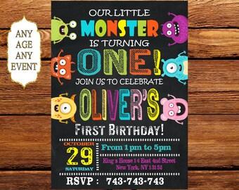 Monster Invitation, Monster Birthday Invitation, Monster Birthday, Monster Party, Monster Party Invite, Little monsters Invitation 172