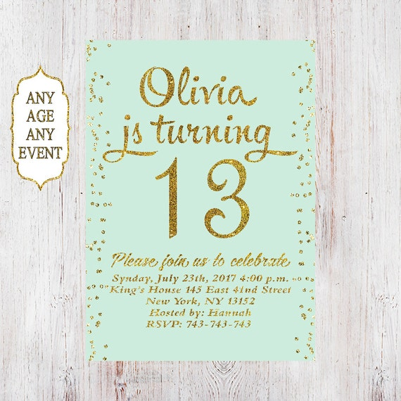 13th Birthday Invitation Party Invitations Teen Girl