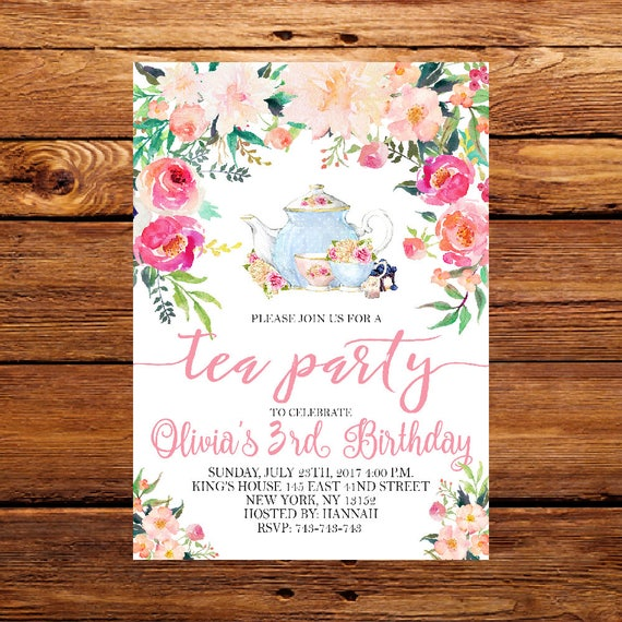 Floral Tea Party Invitation Tea Party Invitetea Party Etsy