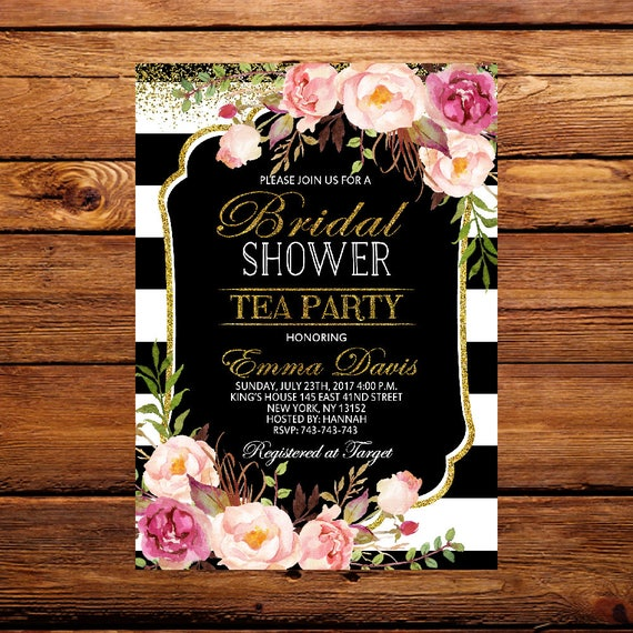 Bridal Shower Tea Party Invitations Bridal Shower Invites Vintage Bridal Tea Party Kitchen Tea Invite Garden Party Floral Invitation 044