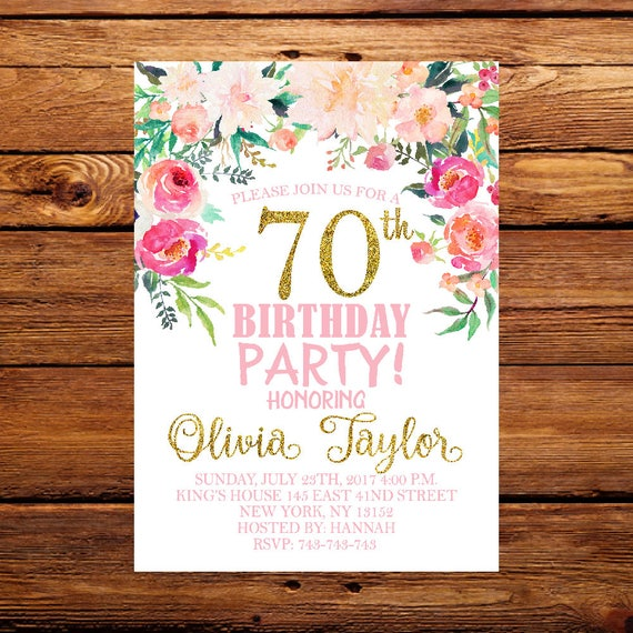 70th birthday invitation floral birthday invitation ladies etsy